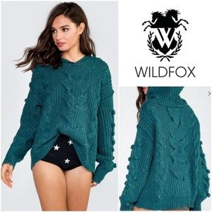 Wildfox Pattie Chunky Cable Knit Hoodie Sweater